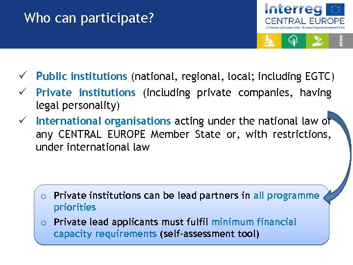 Who can participate? ü Public institutions (national, regional, local; including EGTC) ü Private institutions