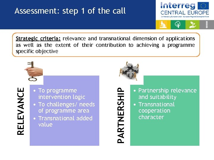 Assessment: step 1 of the call • To programme intervention logic • To challenges/