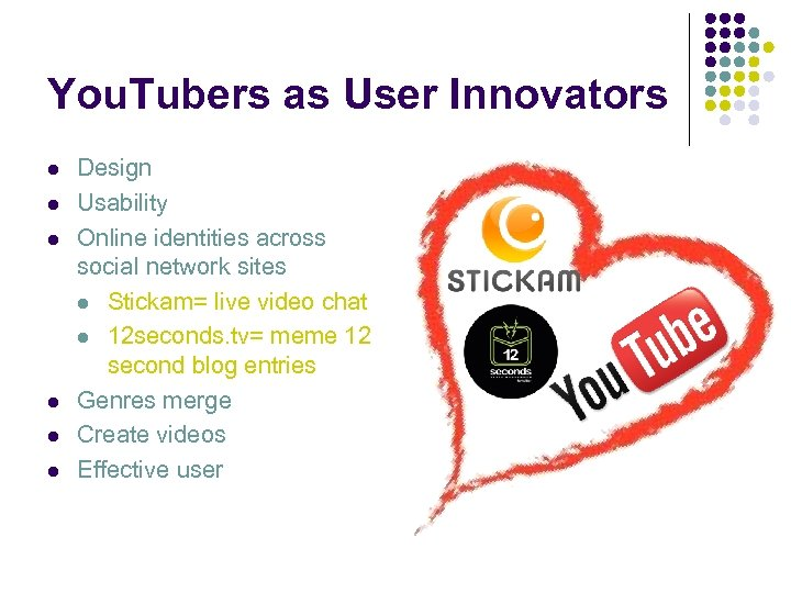 You. Tubers as User Innovators l l l Design Usability Online identities across social