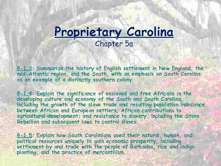 Proprietary Carolina Chapter 5 a 8 -1. 3: Summarize the history of English settlement