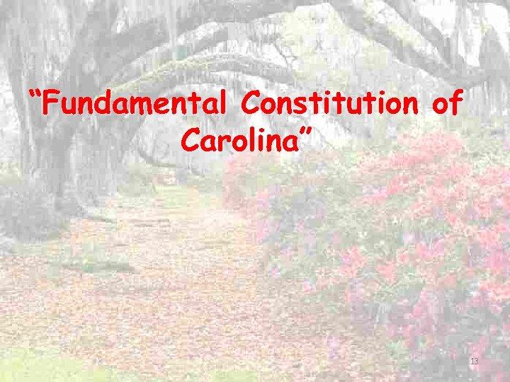 """Fundamental Constitution of Carolina"" 13"