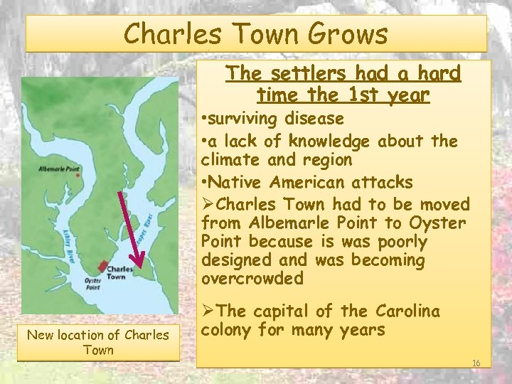 Charles Town Grows The settlers had a hard time the 1 st year •