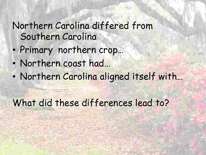 Northern Carolina differed from Southern Carolina • Primary northern crop… • Northern coast had…