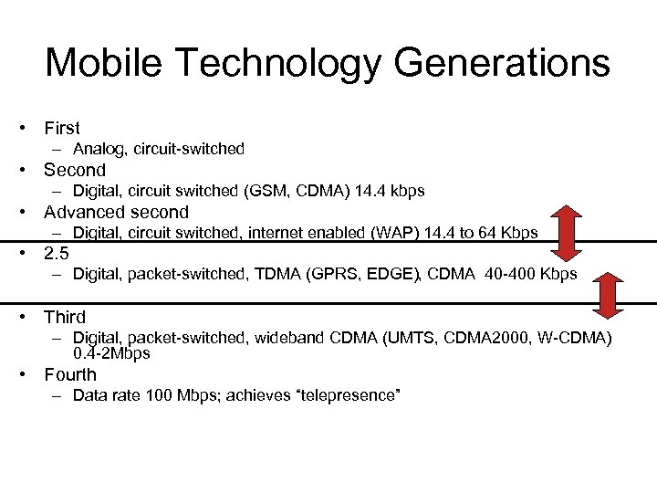 Mobile Technology Generations • First – Analog, circuit-switched • Second – Digital, circuit switched