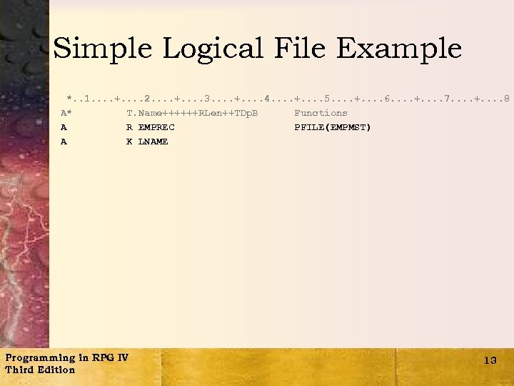 Simple Logical File Example *. . 1. . +. . 2. . +. .