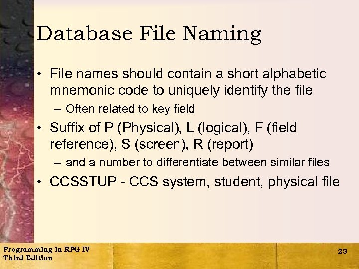 Database File Naming • File names should contain a short alphabetic mnemonic code to