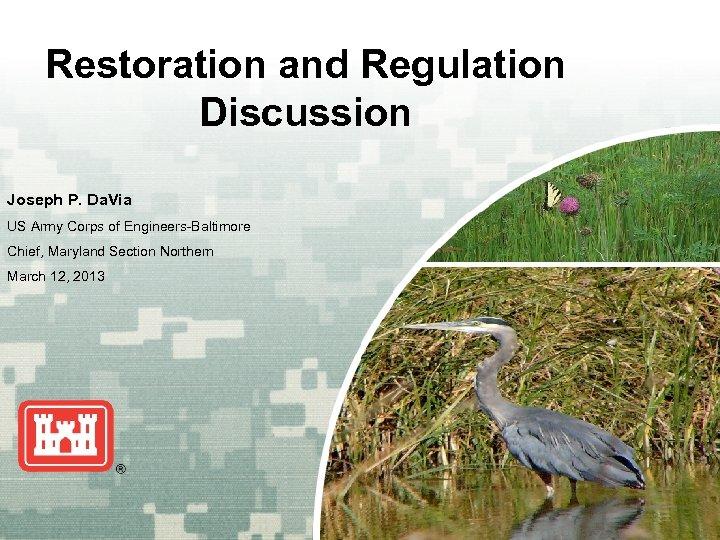 Restoration and Regulation Discussion Joseph P. Da. Via US Army Corps of Engineers-Baltimore Chief,