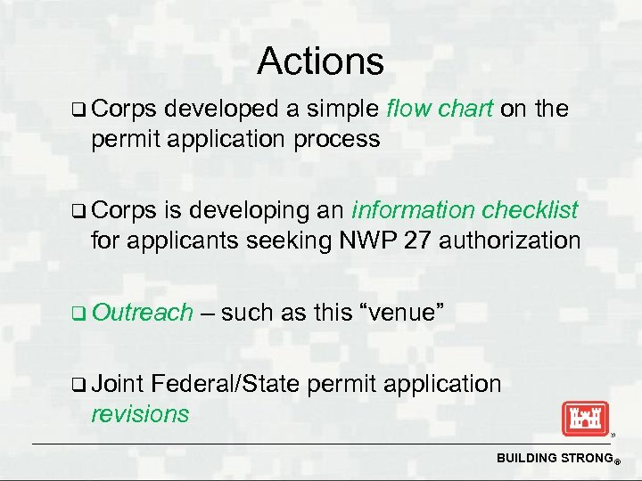 Actions q Corps developed a simple flow chart on the permit application process q