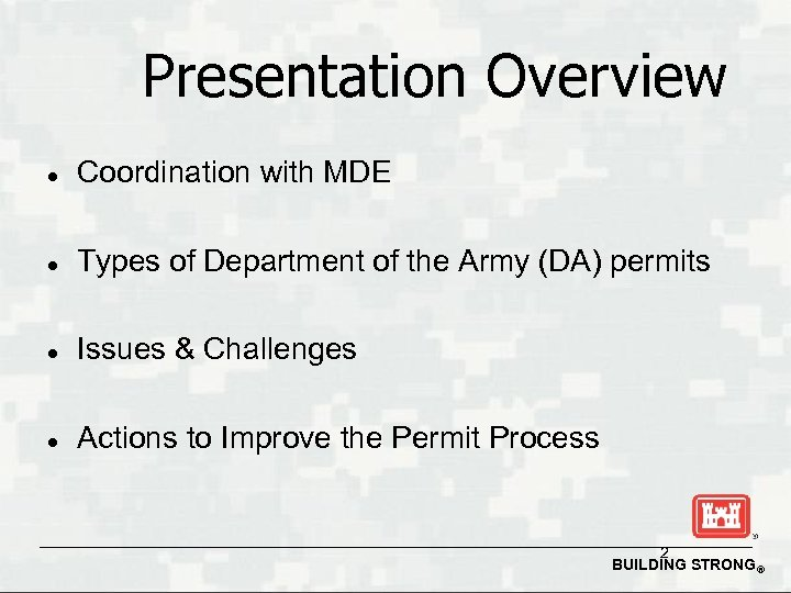 Presentation Overview l Coordination with MDE l Types of Department of the Army (DA)