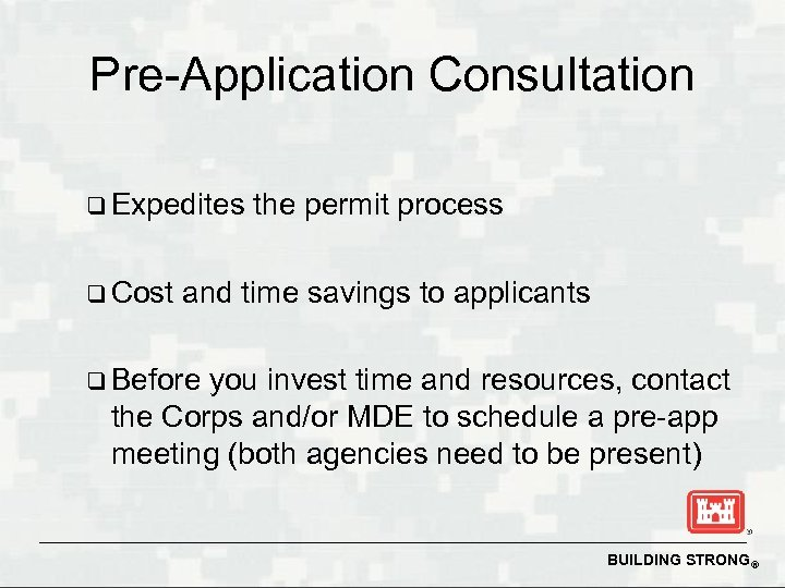 Pre-Application Consultation q Expedites q Cost the permit process and time savings to applicants