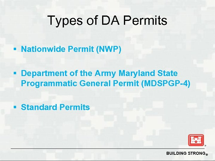 Types of DA Permits § Nationwide Permit (NWP) § Department of the Army Maryland
