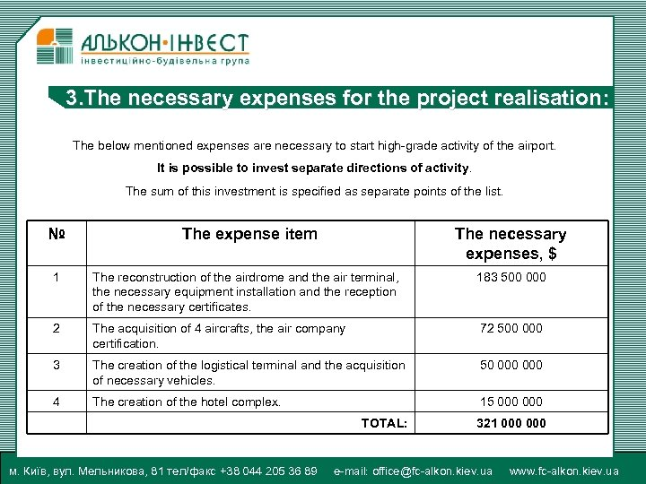 3. The necessary expenses for the project realisation: The below mentioned expenses are necessary