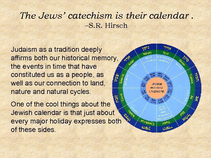 The Jews' catechism is their calendar. –S. R. Hirsch Judaism as a tradition deeply