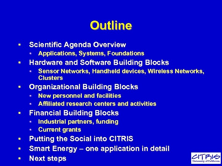 Outline § Scientific Agenda Overview § § Hardware and Software Building Blocks § §