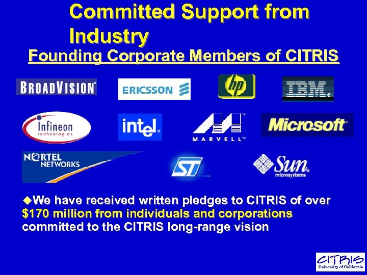 Committed Support from Industry Founding Corporate Members of CITRIS u. We have received written