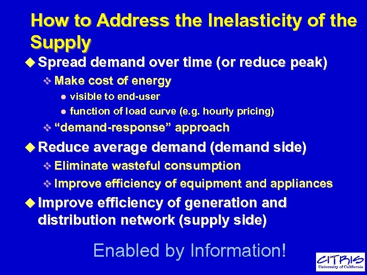 How to Address the Inelasticity of the Supply u Spread demand over time (or