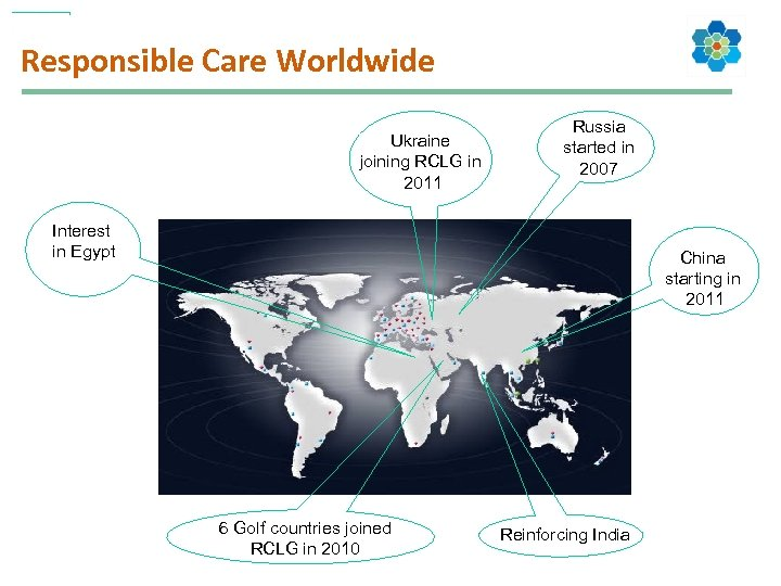 Responsible Care Worldwide Ukraine joining RCLG in 2011 Russia started in 2007 Interest in
