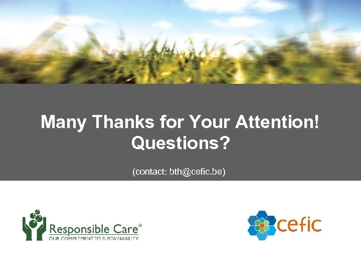 Many Thanks for Your Attention! Questions? (contact: bth@cefic. be) 35