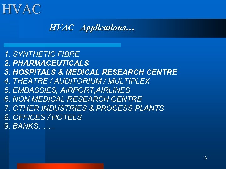 HVAC Applications… 1. SYNTHETIC FIBRE 2. PHARMACEUTICALS 3. HOSPITALS & MEDICAL RESEARCH CENTRE 4.