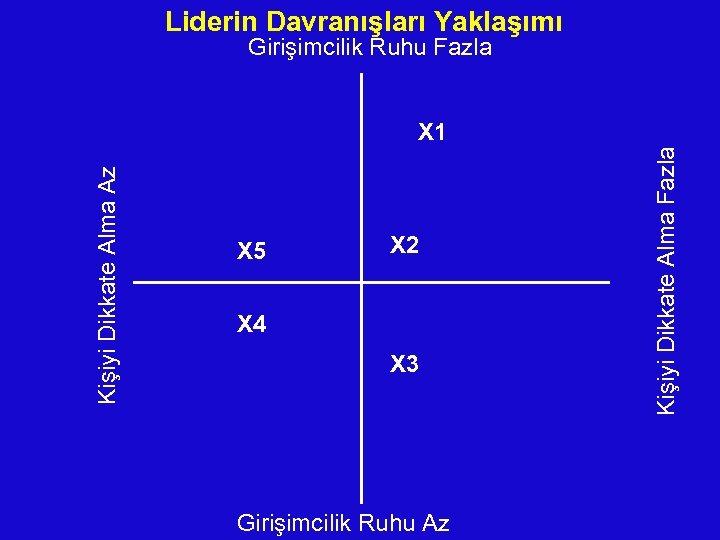 Liderin Davranışları Yaklaşımı Girişimcilik Ruhu Fazla X 5 X 2 X 4 X 3