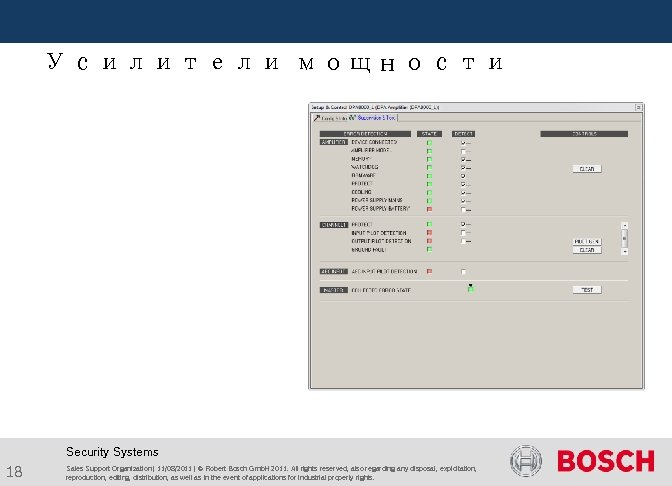 Усилители мощности Security Systems 18 Sales Support Organization | 11/08/2011 | © Robert