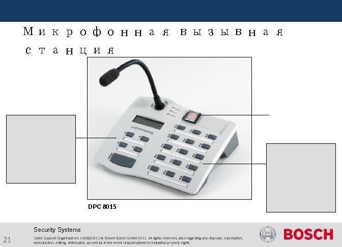 Микрофонная вызывная станция DPC 8015 Security Systems 21 Sales Support Organization | 11/08/2011