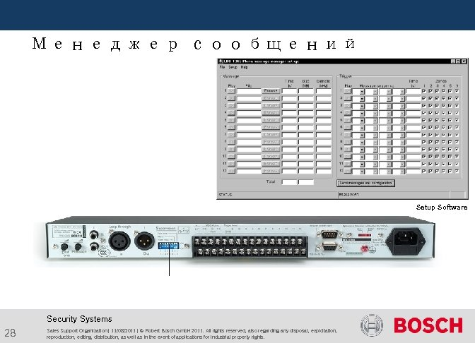 Менеджер сообщений Setup Software Security Systems 28 Sales Support Organization | 11/08/2011 |