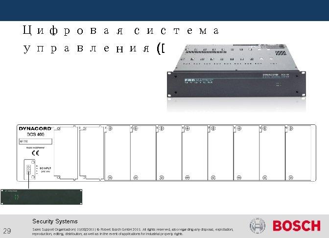 Цифровая система управления (DCS) Security Systems 29 Sales Support Organization | 11/08/2011 |