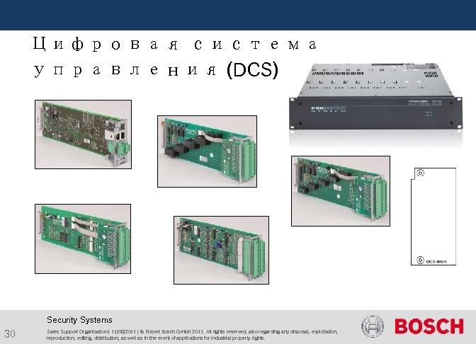 Цифровая система управления (DCS) Security Systems 30 Sales Support Organization | 11/08/2011 |