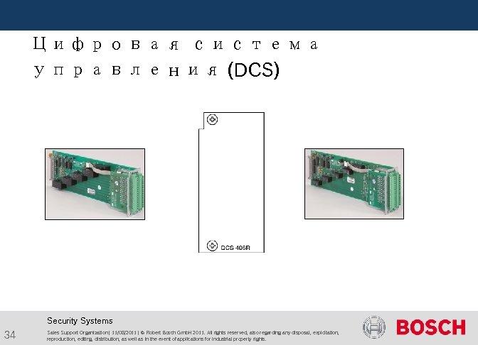 Цифровая система управления (DCS) Security Systems 34 Sales Support Organization | 11/08/2011 |