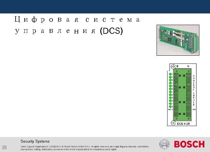 Цифровая система управления (DCS) Security Systems 35 Sales Support Organization | 11/08/2011 |