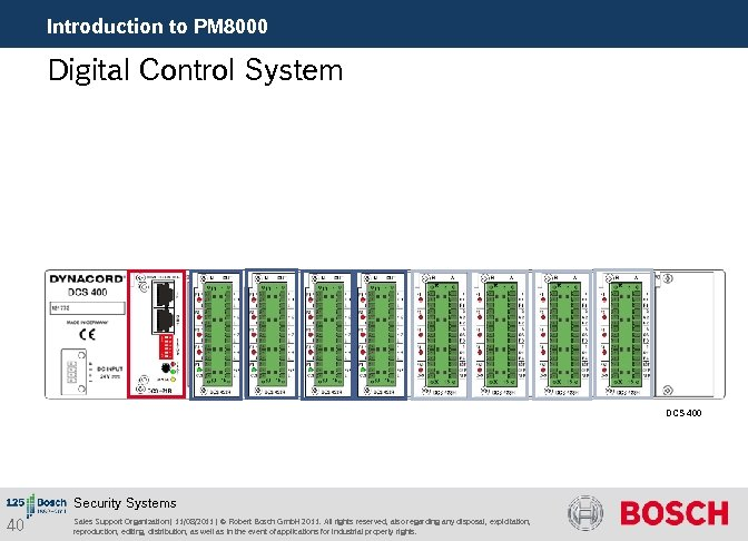 Introduction to PM 8000 Digital Control System DCS 400 Security Systems 40 Sales Support
