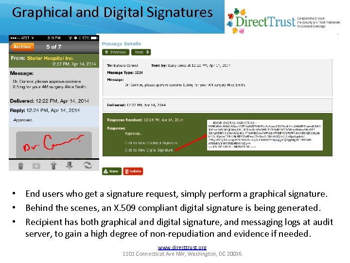 Graphical and Digital Signatures • End users who get a signature request, simply perform