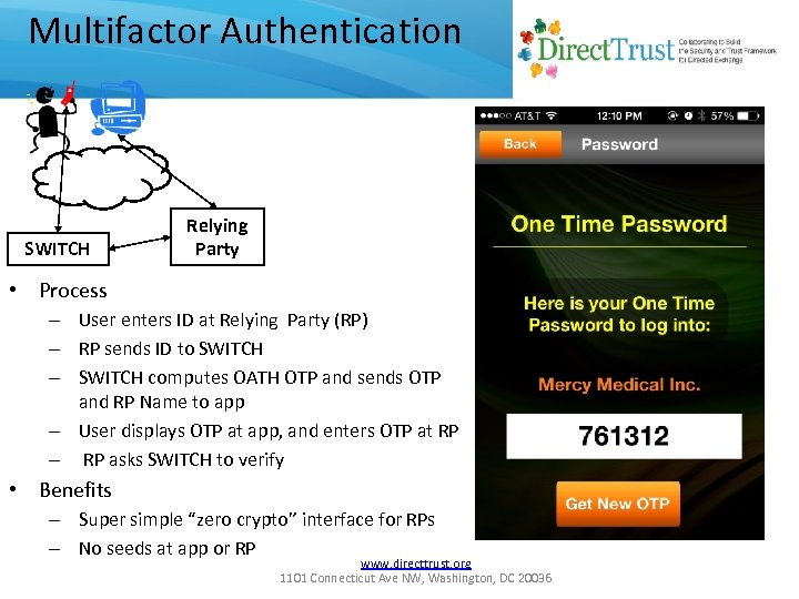 Multifactor Authentication SWITCH Relying Party • Process – User enters ID at Relying Party