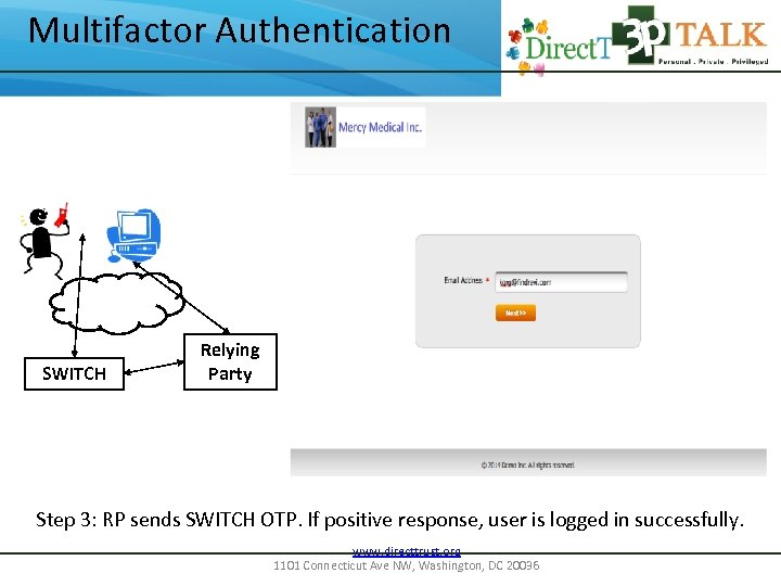 Multifactor Authentication SWITCH Relying Party Step 3: RP sends SWITCH OTP. If positive response,