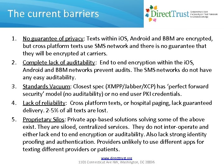 The current barriers 1. No guarantee of privacy: Texts within i. OS, Android and