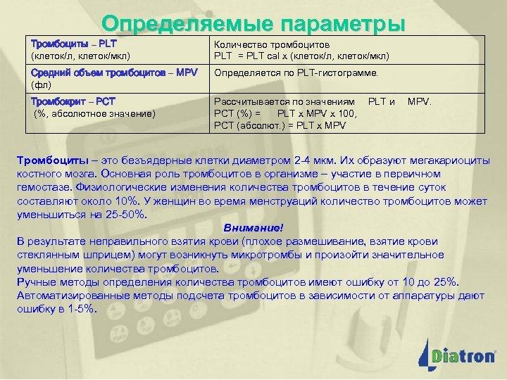 Определяемые параметры Тромбоциты – PLT (клеток/л, клеток/мкл) Количество тромбоцитов PLT = PLT cal x