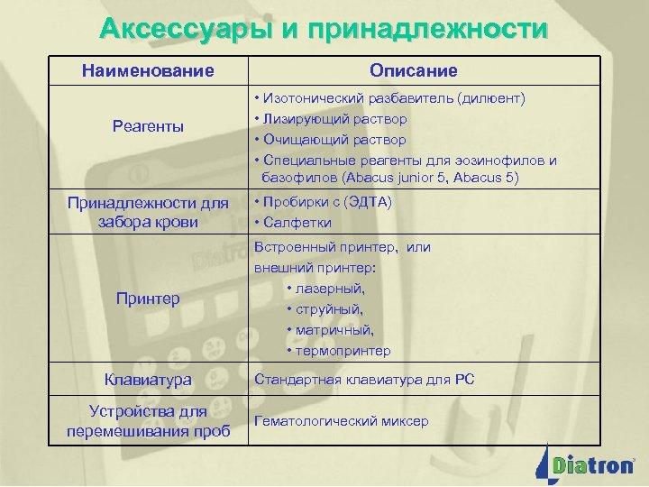 Аксессуары и принадлежности Наименование Реагенты Принадлежности для забора крови Принтер Клавиатура Устройства для перемешивания