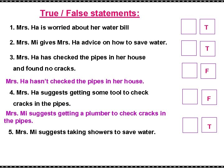 True / False statements: 1. Mrs. Ha is worried about her water bill 2.