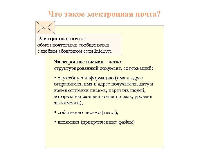 Что такое электронная почта? Электронная почта – обмен почтовыми сообщениями с любым абонентом сети