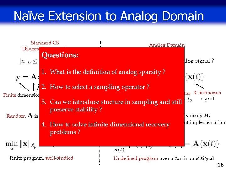 Naïve Extension to Analog Domain Standard CS Discrete Framework Analog Domain Questions: Sparsity prior