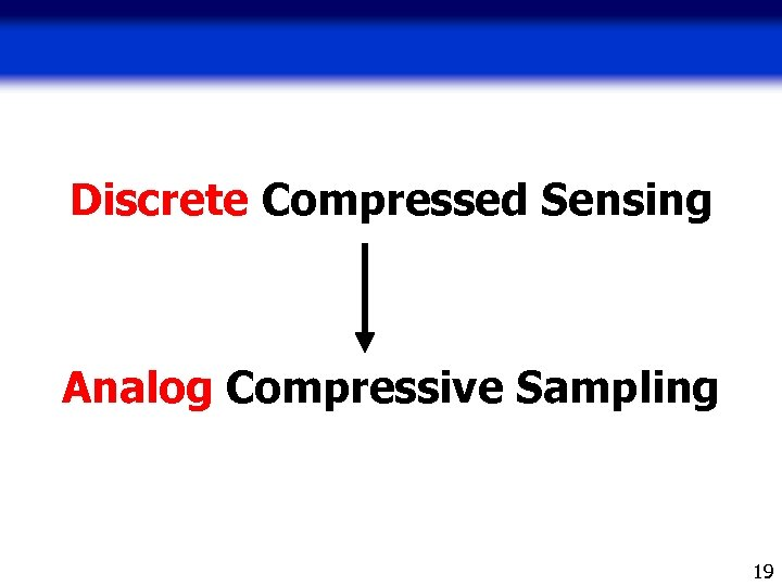 Discrete Compressed Sensing Analog Compressive Sampling 19