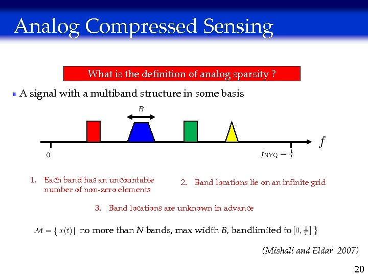 Analog Compressed Sensing What is the definition of analog sparsity ? A signal with