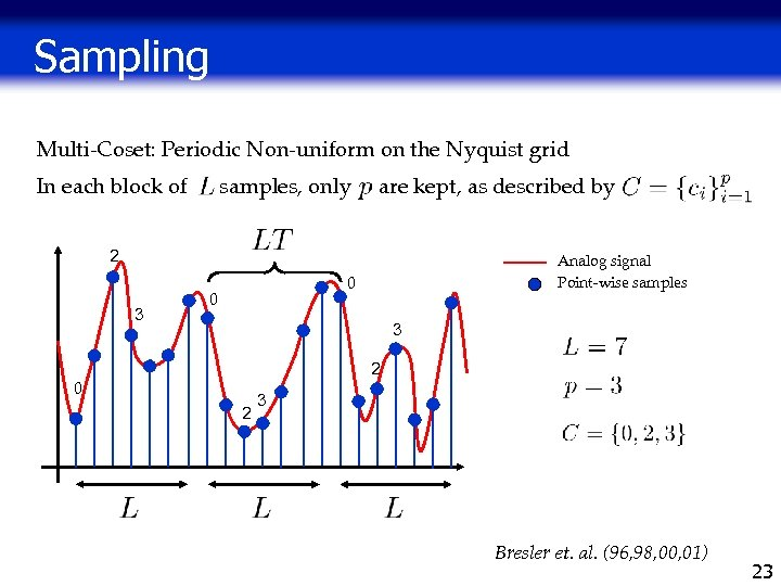 Sampling Multi-Coset: Periodic Non-uniform on the Nyquist grid In each block of samples, only