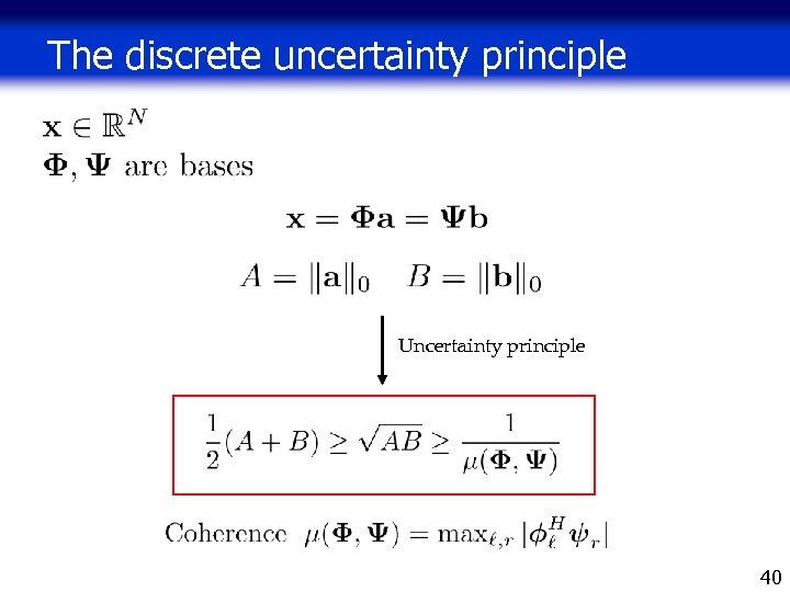 The discrete uncertainty principle Uncertainty principle 40