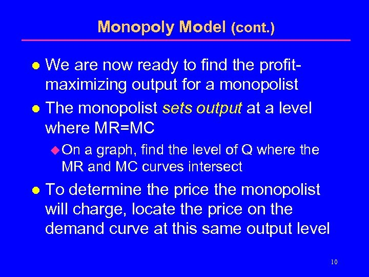 Monopoly Model (cont. ) We are now ready to find the profitmaximizing output for