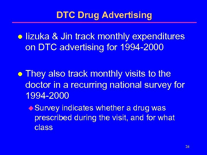 DTC Drug Advertising l Iizuka & Jin track monthly expenditures on DTC advertising for