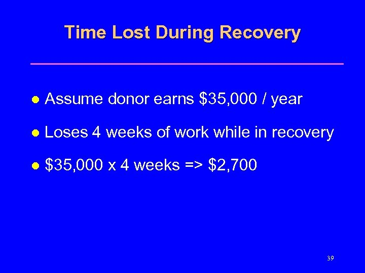Time Lost During Recovery l Assume donor earns $35, 000 / year l Loses
