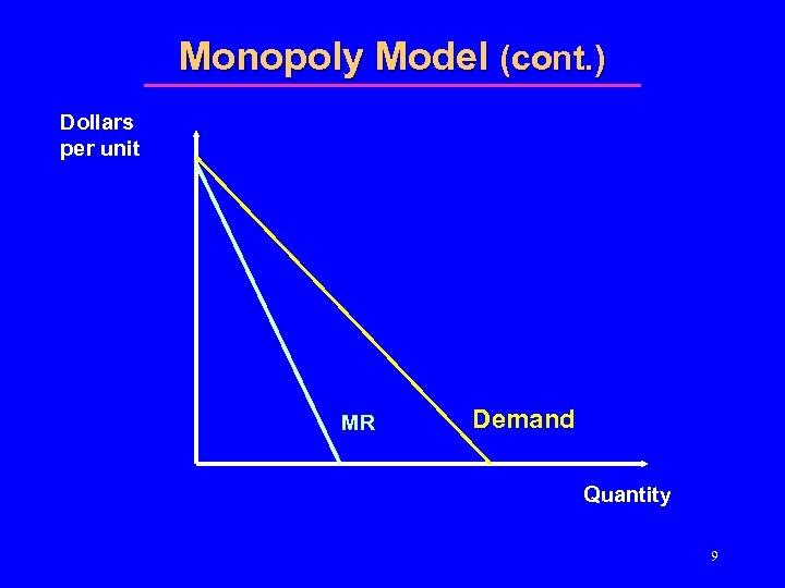 Monopoly Model (cont. ) Dollars per unit MR Demand Quantity 9