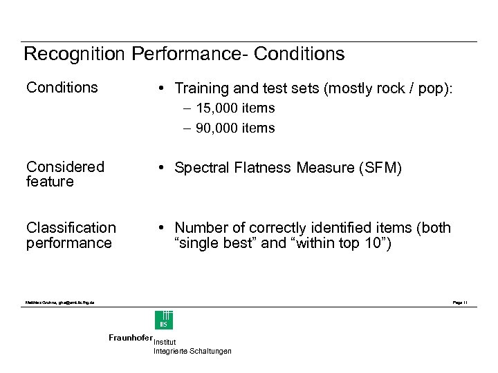 Recognition Performance- Conditions • Training and test sets (mostly rock / pop): Conditions –